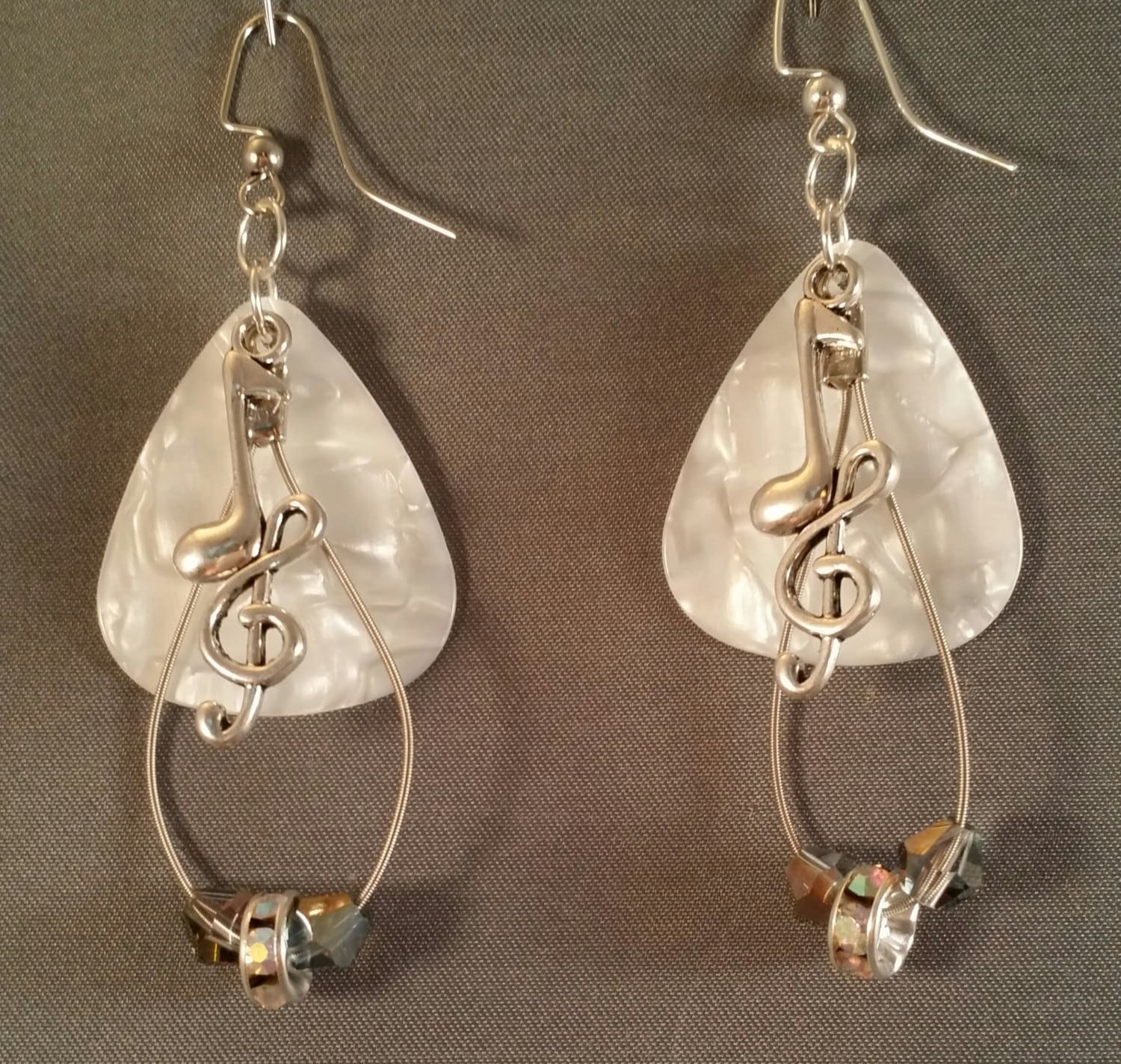 guitar pick and guitar string earrings white. Black Bedroom Furniture Sets. Home Design Ideas