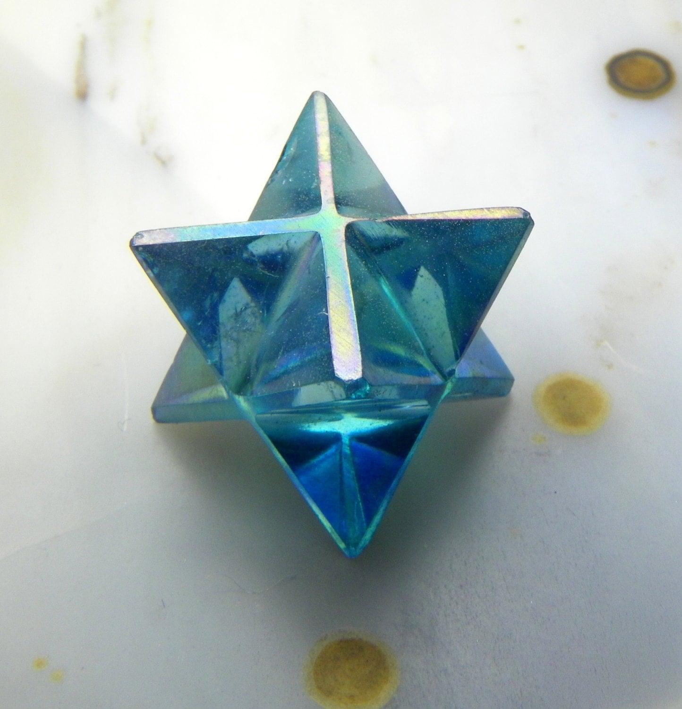 Merkaba Aqua Aura Quartz Crystal Sacred Geometry