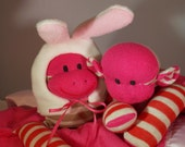 Cute Sock Monkey Blanket, Fushia Mocha Stripes,  Monkey with Rabbit Hat, Personalized, Limited Edition Doll Toy   Handmade.