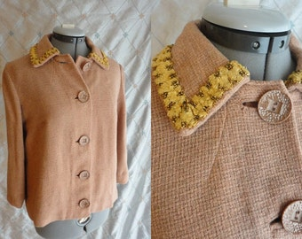 40s Jacket // Vintage 1940s Butterscotch-Tan-Pink Jacket with Yellow and Gold Trim with Silk Lining Size M