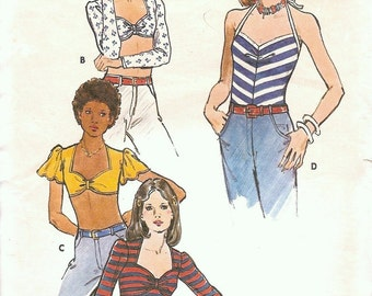 1970's Vintage Sewing Patterns Top Tank Midriff Sweetheart Neckline Butterick 3642 Bust 34