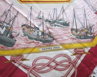 Hermes Scarf - French Herme Scarf - Retour de Peche - Designer Francoise de La Perriere -  1987 Red Silk Twill - Equestrian Scarf - Nautical