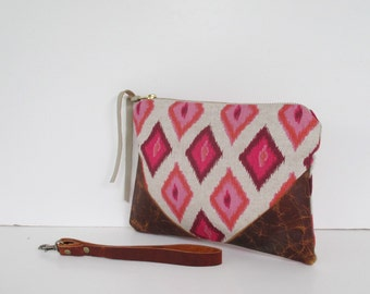 Boho Oatmeal, Pink & Red Tribal Southwestern Style Clutch Purse/Wristlet/Organizer with Distressed Leather