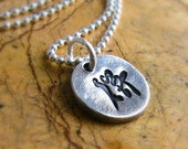 Silver Kanji Necklace Personalized Jewelry Japanese Character Necklace Eco Friendly Hand Stamped PMC Fine Silver Artisan Circle Pendants