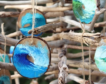 Wave Ornaments by Daina Scarola - Encaustic (beeswax paint) on hardwood (surf art, Christmas)