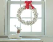 Snowball Christmas Wreath, Felt Needle Felted Wool, Snow White Balls, Winter Wonderland, Door Xmas Decoration, Eco Friendly, Holiday Decor
