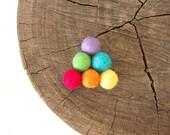 Felted Wool Balls, Felt Beads, Rainbow Needle Felting DIY Craft Crafting Woodland Triangle Geometric - 18