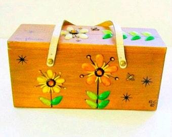 Vintage Box Purse Enid Collins Les Fleurs Embellished Wooden Box Purse
