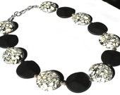 Black and White Howlite and Brazil Agate Semi precious stone handmade necklace