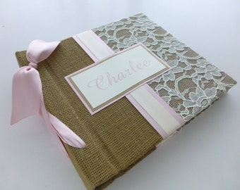 Photo Album Scrapbook 8x8 Size - burlap and lace design