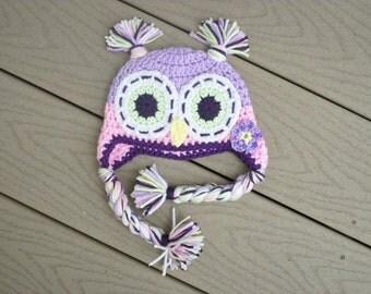 Lavender owl hat   made to order crochet