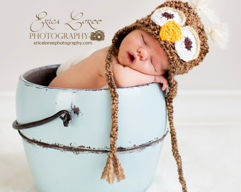 Crochet Baby Owl Hat,  Baby Hat, Crochet Baby Hat, Owl Hat, Infant Owl Hat, Crochet Hat, Baby Hat, Newborn Crochet Hat, MADE TO ORDER