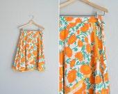 vintage handmade orange FLORAL print WRAP SKIRT. size xs.
