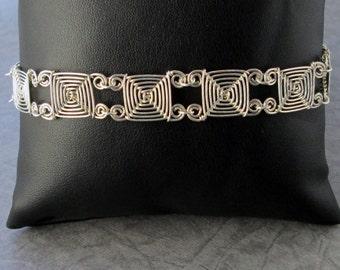 Hand Woven Sterling Silver Wire Bracelet- Narrow Links Ojos Bracelet