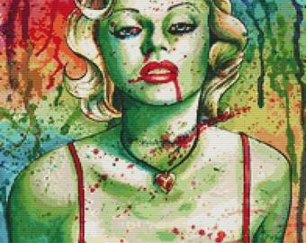 Modern Cross Stitch Kit By Carissa Rose 'Marilyn Monroe Zombie Doll' - Horror CrossStitch