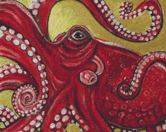 Cross Stitch Kit By Lynnette Shelley Red Octopus Needlecraft