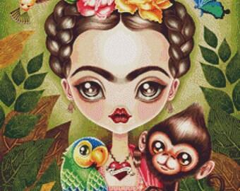 Modern Cross stitch by Sandra Vargas ' Frida Kahlo- Contemporary Fairy Tale Needlecraft kit