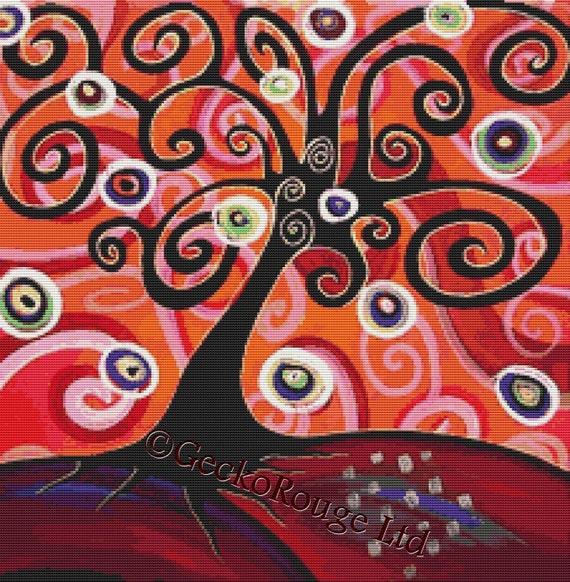 Modern Cross Stitch Kit 'Life Tree' By Thomas Fedro, Tree of Life, Counted Cross Stitch Kit, Life Circles, Needlecraft Pattern / Chart