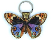 Leather keychain / key ring / bag charm - Colourful butterfly