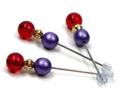 Cross Stitch Counting Pins, Marking Pins, Needlepoint, Red, Purple, DIY Crafts, TJBdesigns