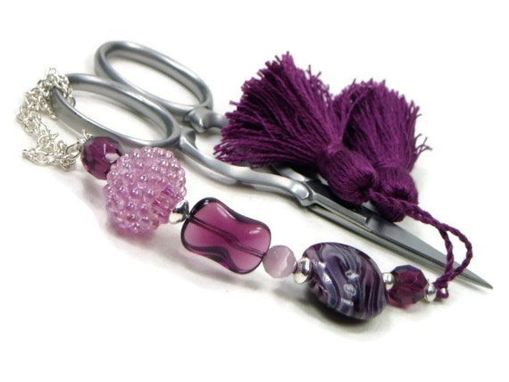 Beaded Scissor Fob Cross Stitch Needlepoint Grape Purple Amethyst DIY Crafts Gift for Crafter Sewing Accessory Quilting
