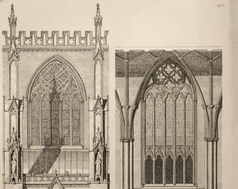 1845 Antique British Architecture Print - Rare Large English Antique Engraving of British Architectural Gems. York Cathedral. Plate 15