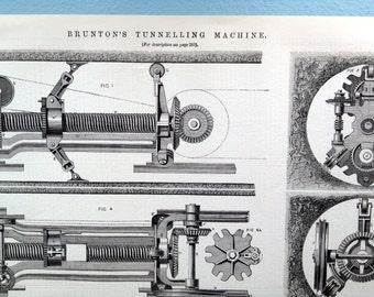 1871 Large English Antique Engraving of Brunton's Tunnelling Machine