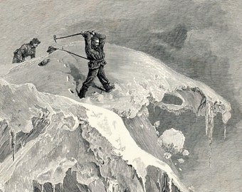 1900 Antique Engraving of the Summit of the Moming Pass in 1864