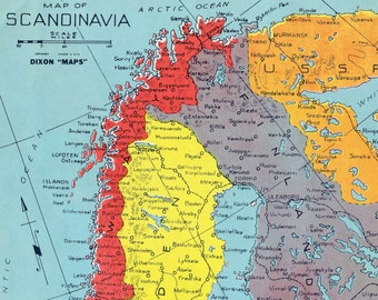 1940s Vintage Map of Scandinavia during World War II - Colourful map