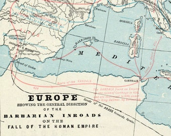 1892 Antique Map of the Barbarian Invasion of Europe