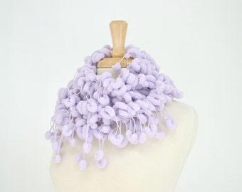 Lavender Pom Pom Scarf, Long Fluffy Woman Skinny Scarf