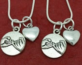 Pinky Promise Necklace set of 2 for you and your Best Friend with Heart