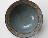 Decorative Blue Gray Handmade Stoneware Bowl - Serving Bowl - Wedding Registry - Entertaining