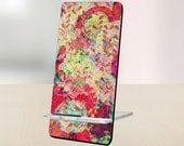 Mobile Cell Phone Stand Holder Display Accessories Decor Gift for Office, Desk, Home, Shelf Trendy- Flower Pattern - artstudio54