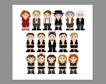 Cabaret Pixel People Cross Stitch Pattern PDF ONLY