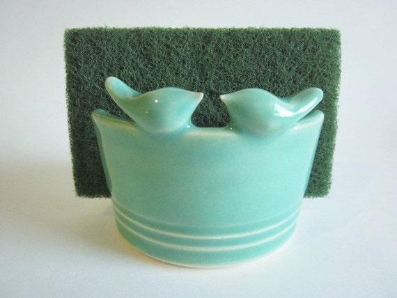 Kitchen Sponge Holder With Mint Green Lovebirds Home Decor