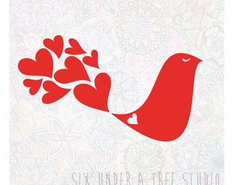 Love Bird Wall Vinyl Decals Art Graphics Stickers