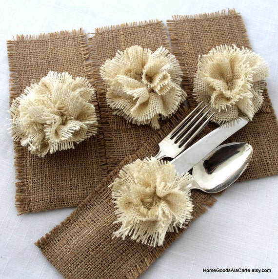 Burlap Silverware Holders Set of 4