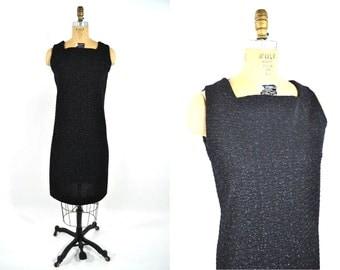 1960s dress vintage 60s black silver metallic sleeveless shift dress M