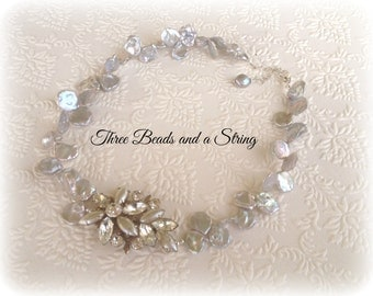 Vintage Brooch and Grey Freshwater Pearl Cornflake Pearl Bridal or Special Occasion Necklace