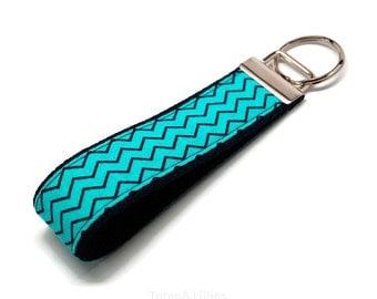 Aqua Navy Blue Chevron Fabric on Navy Blue Webbing Key Fob Keychain