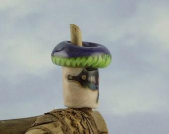 Lilac capped magical mushroom dreadlock bead