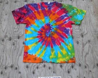 Fresh Rainbow Spiral Tie Dye T-Shirt (Jerzees Size XL) (One of a Kind)