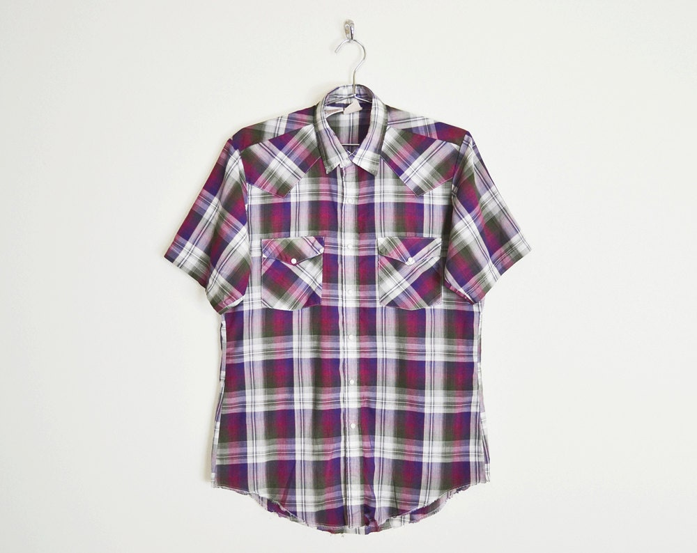 Purple Plaid Shirt Plaid Western Shirt Western Pearl Snap