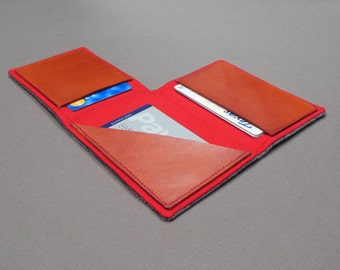 Wallet - gray tweed and red canvas