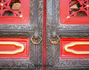 Chinese Photography, Red Door Print, Asian Art Architectural Detail, Door Detail Art,Asian Door Photography,Red Gold Grey Art,Forbidden City