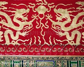 Gold Dragons Print, Boho Wall Decor, Red & Gold Asian Decor, Red Chinoiserie Art, Asian Art, Chinese Photography, Asian Dragons Architecture