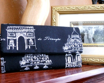 Paris Wallet / Wristlet / Credit Card / Coin / Cell Phone / CheckBook / Bridesmaid Gifts / White on Black Sketches of Paris