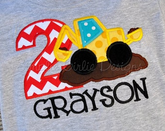 Custom backhoe birthday shirt. Personalized. Sizes 12m to boy's small. Other colors and sizes available.