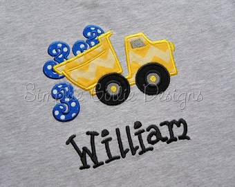 Custom dump truck birthday shirt. Personalized. Sizes 12m to youth small. Made to fit your birthday theme. Other colors and sizes available.